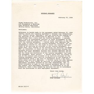 KIRK DOUGLAS Signed Agreement for His Acting Services in the Movie IN HARMS WAY