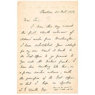 1856 EDWARD EVERETT Autograph Letter Signed Regarding the Papers of John Adams