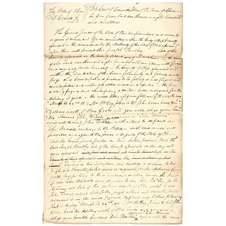 1819 General SAMUEL FINLEY Signed Manuscript Legal Document on Counterfeiting
