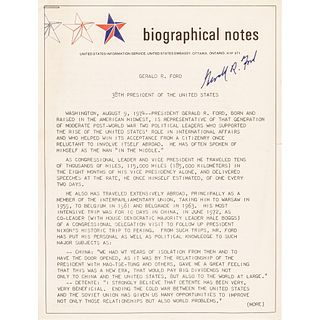 GERALD R. FORD Document Signed the Day Ford was Sworn in as 38th U.S. President