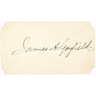 Rare JAMES A. + LUCRETIA GARFIELD Signed Cards Dated AS PRESIDENT + FIRST LADY !