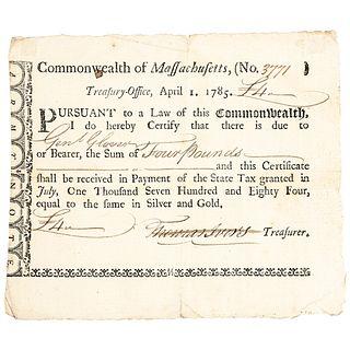 GENERAL JOHN GLOVER Revolutionary War Era Mass Treasury Payment Certificate