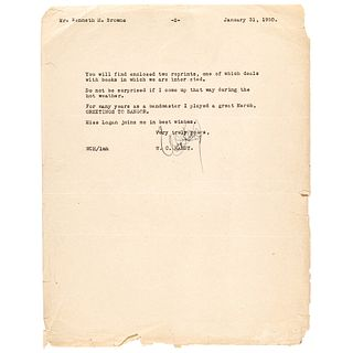1950 Father of the Blues W.C. Handy Typed Letter Signed