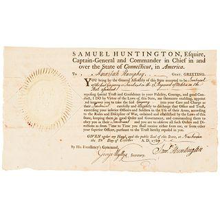 SAMUEL HUNTINGTON, Ct. Governor, Decl. Signer + Continental Congress President