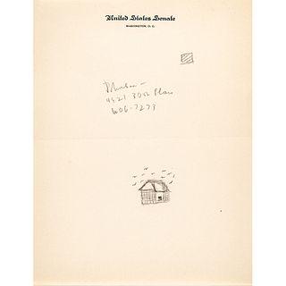 (JOHN F. KENNEDY) Writes Lyndon Johnson Address + Phone Number Adding DOODLES