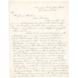 Author THOMAS L. McKENNEY 1848 Autograph Letter Signed Written to Dolley Madison