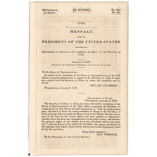 1852-Dated, First Edition Official Imprint - Affairs in the Territory of Utah