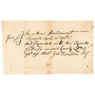 1738 Manuscript Document Signed By JEREMIAH MOULTON Member Mass. Council