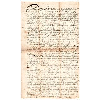 1737 SIR WILLIAM PEPPERRELL Signed Early Maine Land Deed of Sale Document