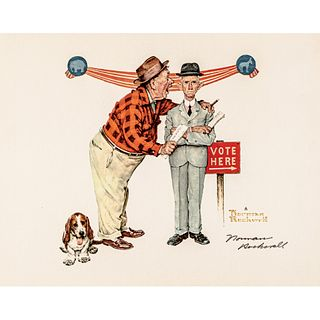 Norman Rockwell Artist Fully Signed VOTING Related Print Nicely Signed