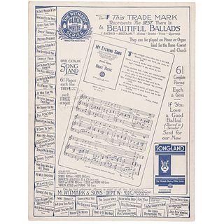 1933 FRANKLIN DELANO ROOSEVELT Sheet Music Signed