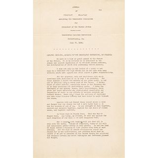 Fantastic FDR Signed Acceptance Speech For His Second Nomination To The Presidency
