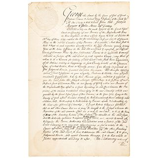 1743 Mass. Gov. WILLIAM SHIRLEY Signed Appointment for 3 Justices to the Court