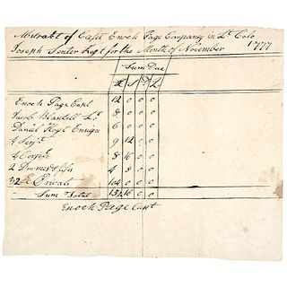 1777 Revolutionary War, Payment Due to Captain Enoch Pages Company Document
