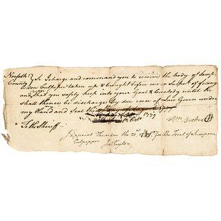 1779 Norfolk Virginia Revolutionary War Warrant for a FELONY + TREASON Suspect