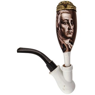 c. 1880 Rare George Washington Painted Porcelain Smoking Pipe made by Fritzsche