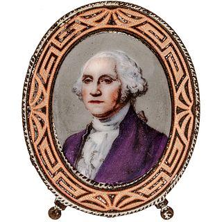 c. 1889 Enameled Portrait of George Washington Display Frame with Easel back