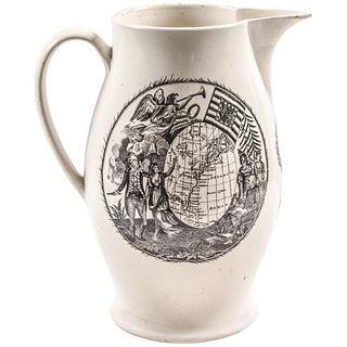 c 1797 JOHN ADAMS President of the U.S... Historical Liverpool Creamware Pitcher