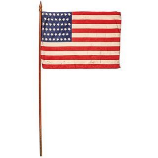 1907 Oklahoma Statehood 46-Star Printed Silk Hand-held Wooden Parade Flag w/Cap