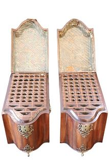 Pair of Antique Serpentine Knife Boxes, 19th C