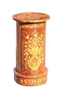 Antique Marquetry Round Cabinet