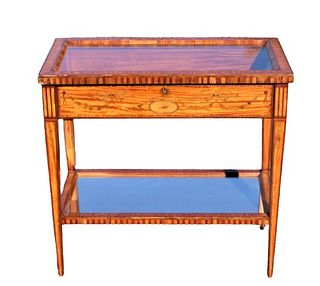 Antique Satinwood Lift-top Console Table