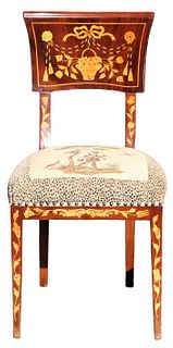 European Chair With Marquetry Inlay & Embroidery