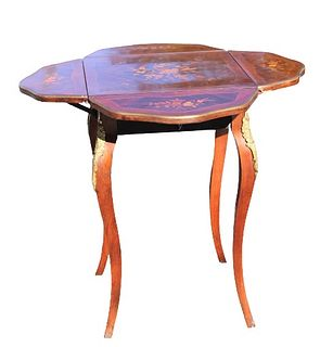 Marquetry Inlay Drop Leaf Side Table