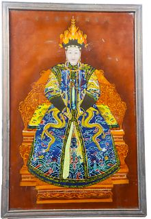 Chinese Ancestral Portrait Reverse Painting