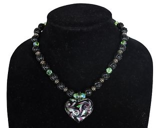Black Beaded Necklace with Heart Pendant