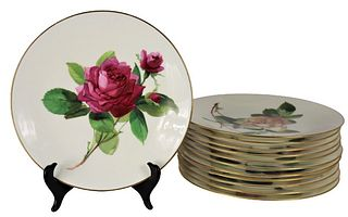Set of 12 English Minton Gilt Rim Floral Plates