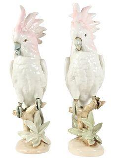 Pair of Royal Dux Porcelain Cockatiel Birds