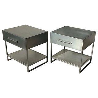 2 Industrial Nightstands/End Tables in Brushed Metal