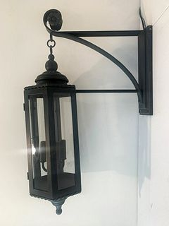 Large Forged Steel Light/Sconce with Verdigris Patina