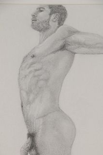 Kevin Ford Homo-Erotic Graphite Drawing of Male Nude