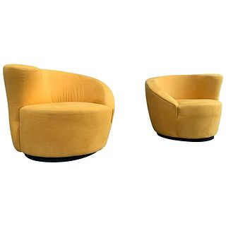 Pair of Vladimir Kagan Swivel Chairs for Directional
