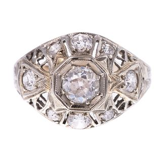 A 1.25 ctw Art Deco Filigree Diamond Ring in 14K