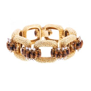 Impressive French 18K Diamond & Tiger Eye Bracelet