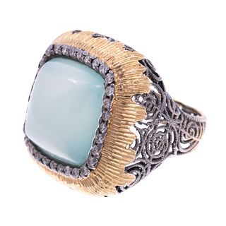 A 14K White & Yellow Gold Chalcedony Diamond Ring