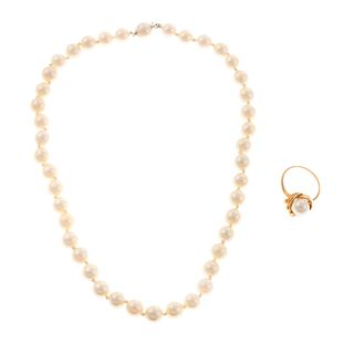 A Pearl Ring & Strand of Pearls