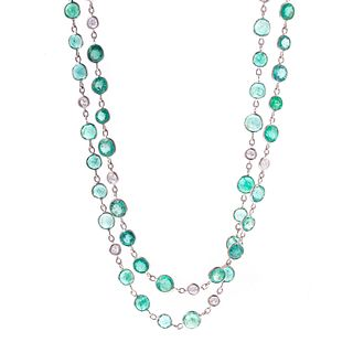 An Impressive 80.00 ctw Emerald & Diamond Chain