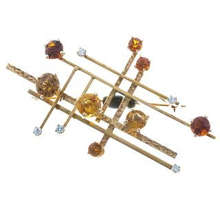 A Mid-Century Design Citrine Brooch in 14K