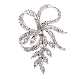 A 14K White Gold Diamond Floral & Bow Brooch