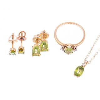 A Suite of Peridot & Diamond Jewelry in 14K