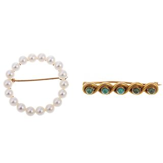 A Pearl Circle Brooch & Turquoise Bar Pin in 14K