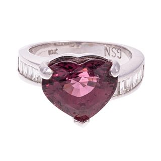 A Heart-Shaped Rubellite Tourmaline Ring in 18K