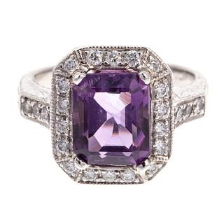 A Platinum Diamond & Amethyst Ring