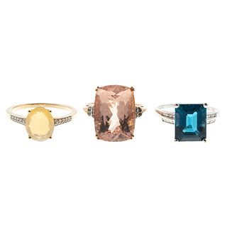 A Morganite Ring & Other Rings in Gold