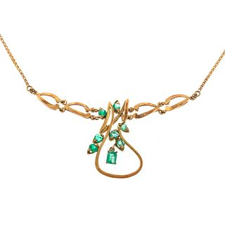 An 18K Yellow Gold Emerald Necklace