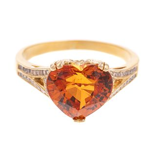 A Spessartite Garnet & Diamond Ring in 18K